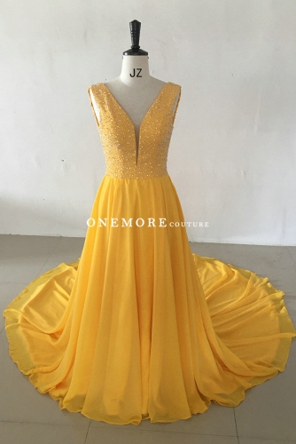 Bright Yellow Beaded Chiffon Dress with Long Train
